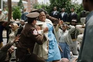 Oprah Winfrey fighting for her voting rights in the movie, Selma